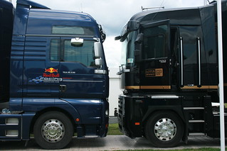 Head to head! Red Bull Racing and Lotus Renault trucks