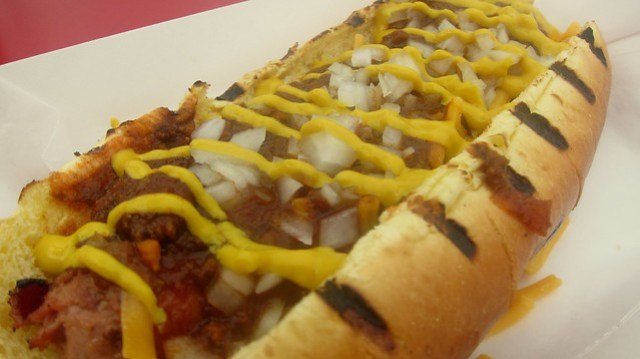housemade chili on a wienerz hot dog at ringside