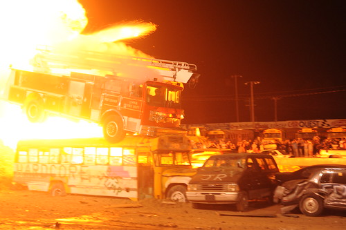 Rocky Hardcore fire truck jumping over school bus