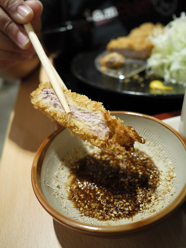 Dipping the pork at Yabu