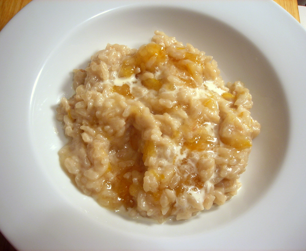 Sweet coconut risotto, with Meyer lemon marmalade and light rum