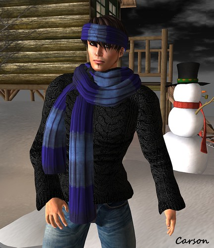 HUDSON'S Mens Cable Knit n Blues Scarf