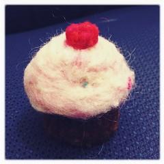 Needle-felted cupcake