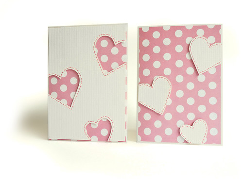 pink and white spotty papercraft heart cards with heart shaped apetures