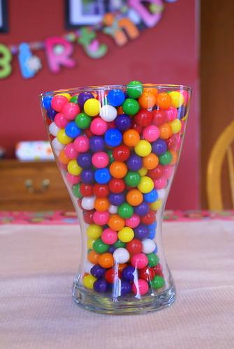 Glass vase full of bubblegum