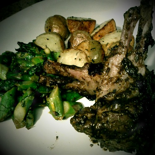 Lamb with roasted potatoes and minted asparagus