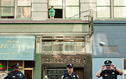Photo of cops on Sixth Street in SF during a march against cop brutality