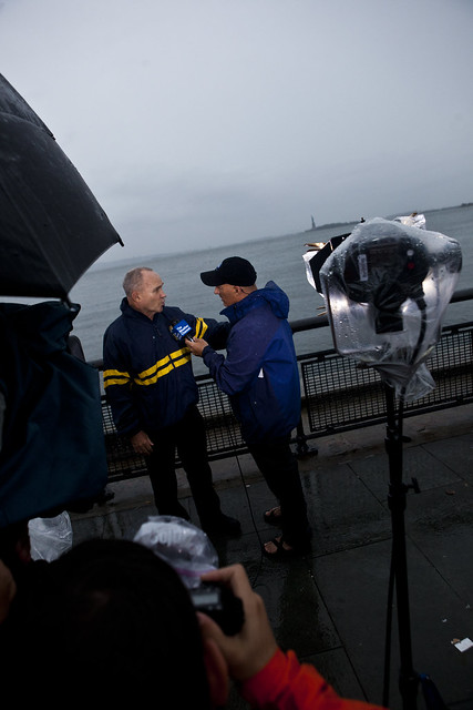 NBC News team covers Hurricane Irene: Jim Cantore interviews New York City Police Commissioner Ray Kelly