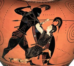 Exekias's Attic Black Figure Neck Amphora, Achilles killing Queen Penthesilea, Detail, 535-530 BC, by Michael Tiberius