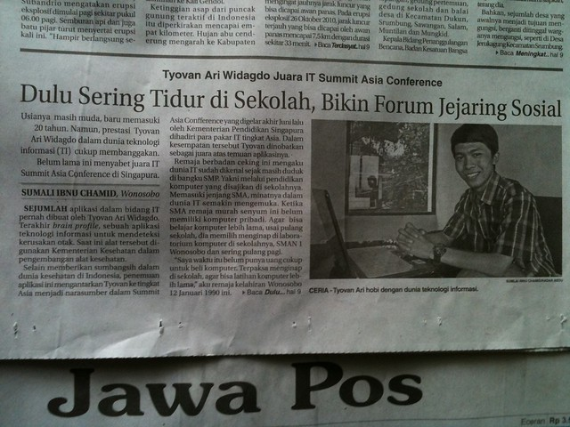 Tyovan on Jawa Pos, 5 November 2013.