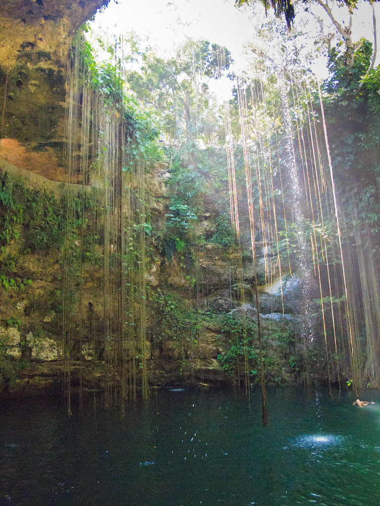 At the bottom of the Ik Kil cenote