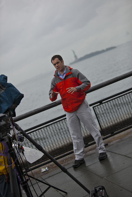 Peter Alexander reporting from Battery Park, New York City covering Hurricane Irene