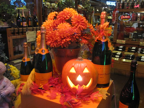 Veuve Clicquot Ponsardin Brut Champagne Halloween Fall Harvest Pumpkin Window Display at V. Cirace & Son, Inc. in Boston Massachusetts by RYANISLAND