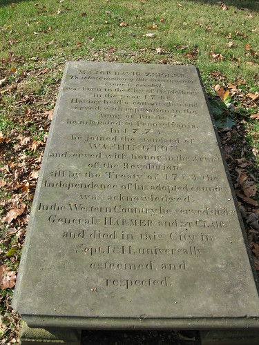 Tombstone of David Zeigler in Woodland Cemetery (photo by the author, 29 Oct. 2011)