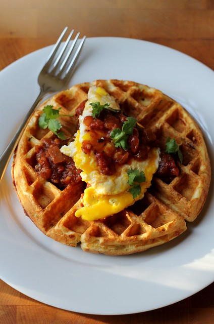 savory cheddar and scallion waffles