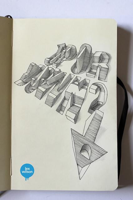 Moleskine illustration #24: Up or Down? (typography)
