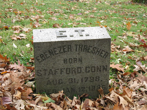 Headstone of Ebenezer Thresher in Woodland Cemetery