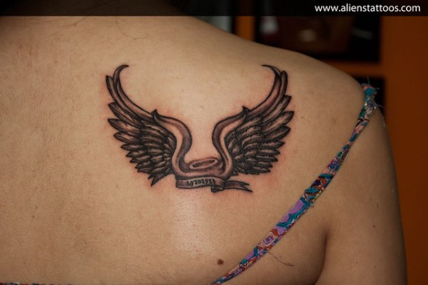 20 Angel Wings Halo Tattoos With Death Date Ideas And Designs