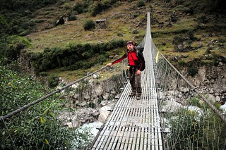 Sergey on suspended bridge near Thoche