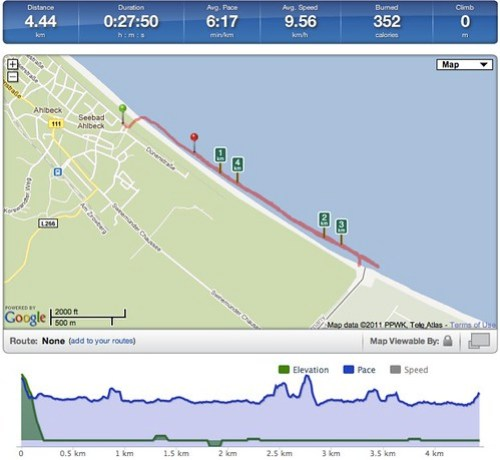Running Activity 4.44 km | RunKeeper
