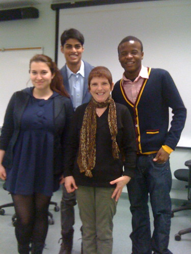 Maya Akbay, Evan DeSouza, Robin Burgoyne, Tichoan Tapwamba at Centennial Journalism Advanced Interviewing class 2012