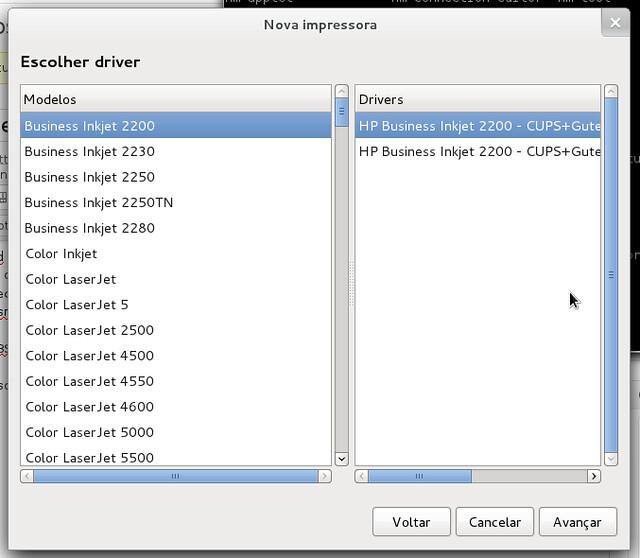 Trecho da lista de drivers de impressoras HP antes de instalar HPLIP