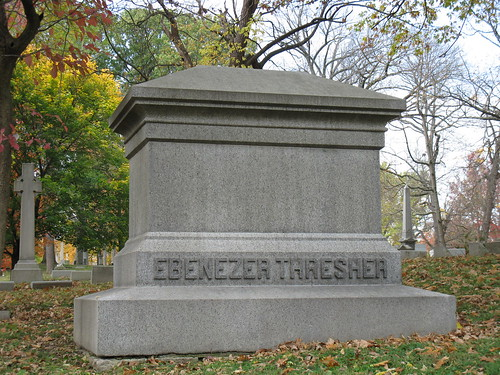 Tombstone of Ebenezer Thresher in Woodland Cemetery