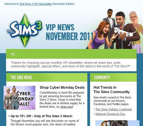 Sims 3 VIP Newsletter - November