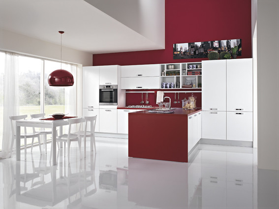 Cucina penisola bordeaux  Cucina lineare l480 cm con