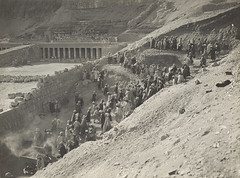 Progress of the Work, Hatshepsut's Temple, 1929, by Harry Burton
