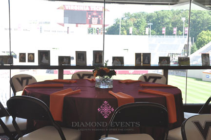 Wedding reception table with Lane Stadiu in the background
