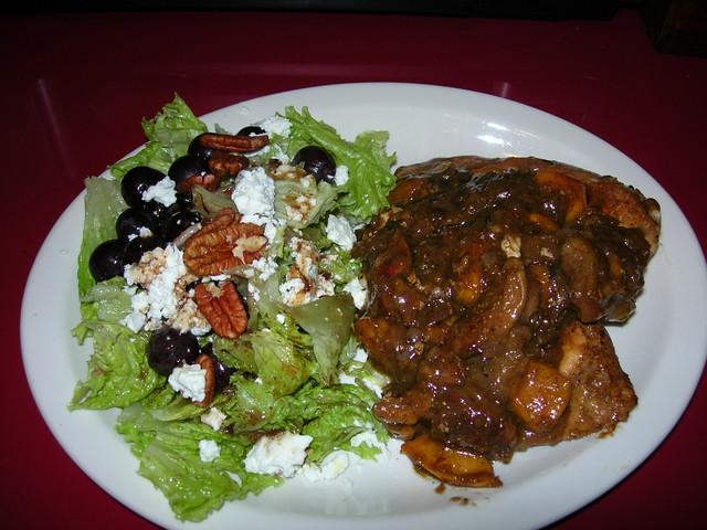 Pork Chop with Nectarines & Fig Chutney and Salad