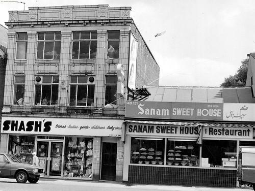 Sanam Sweet House & Restaurant, Rusholme, Wilmslow Road, 1985.