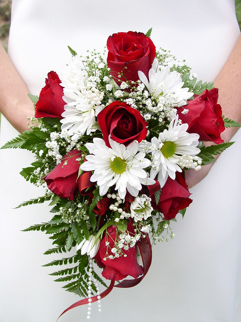 Red Rose and White Daisy Bouquet  This is a classic and