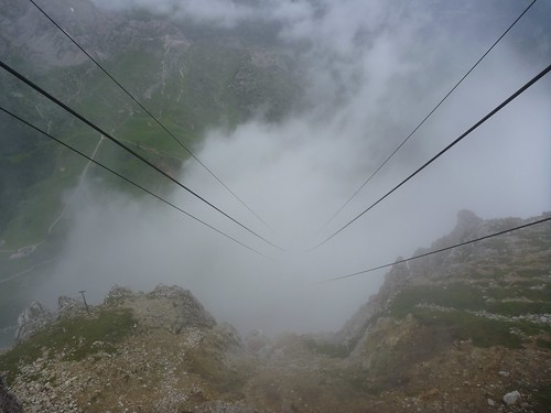 Lagazuoi cable car - View down the line