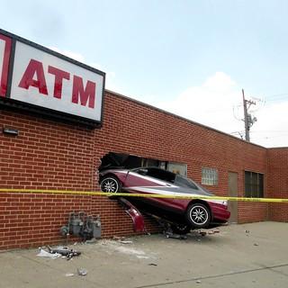 car stuck in a building, North & Kedzie, Chicago