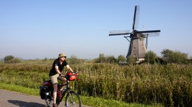 Cycling past the windmills of Kinderdijk