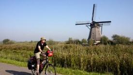 Cycling past the windmills of Kinderdijk