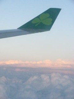Shot from a plane window, wing tip with the Aer Lingus shamrock logo at top, pink-tinged clouds below.