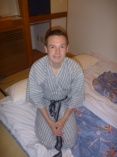 Col modelling his complimentary yugata dressing gown