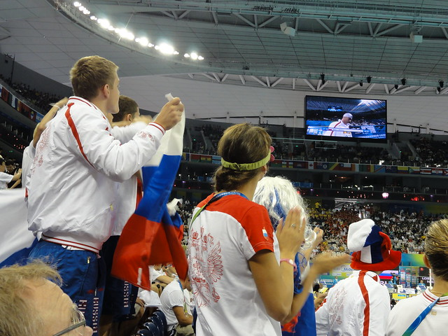 Russians cheering on their guy at Shanghai 2011