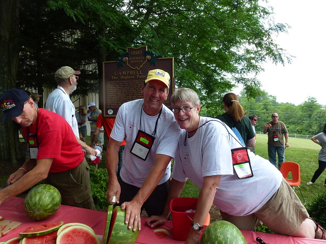 Mark and Wendy Comstock with watermelon on Campbell Hill