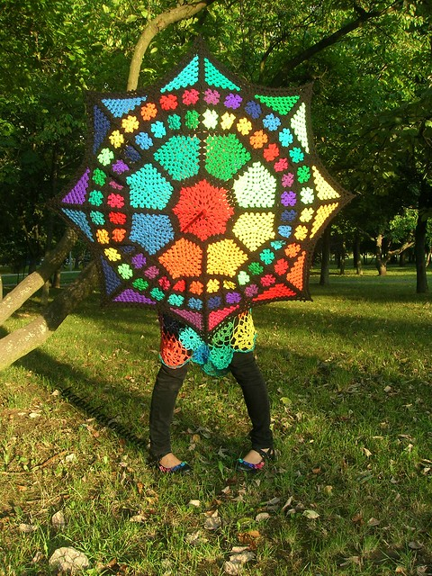 Crochet Umbrella - Enchanted Stained Glass Granny Square Umbrella