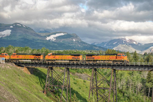 BNSF Locomotives crossing  'Two Medicine Trestle' Montana by Loco Steve