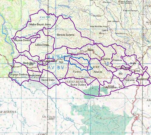 Diga Kebeles base map, Ethiopia