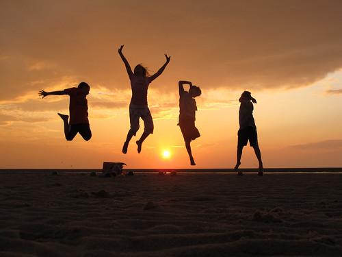 Kids jumping on the sandbar 3