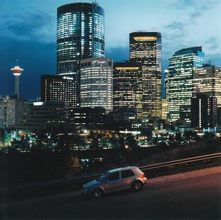 Calgary Skyline Night - Bronica SQ-A