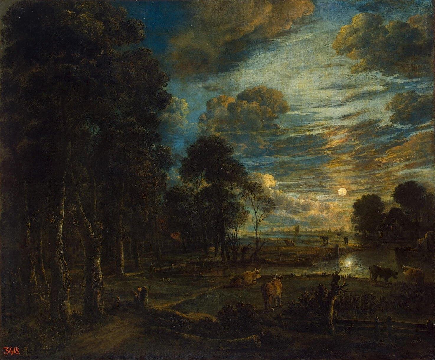 Aert van der Neer, Nachtlandschaft mit Fluss, ca. 1650