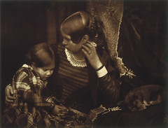 Harriet Farnie and Miss Farnie with a Sleeping Puppy, Brownie, 1845, by Hill and Adamson