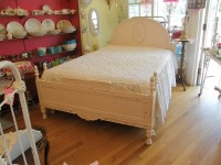 shabby chic antique full bed frame pink distressed ...